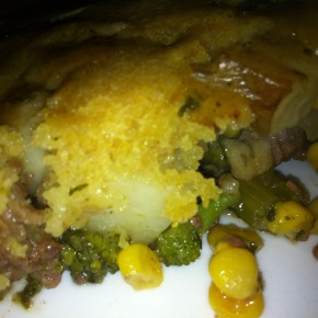 Beef Corn and Broccoli Cornbread Pot Pie