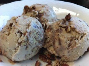 Caramel Pecan Dark Chocolate Swirl Ice Cream {Dairy Free}