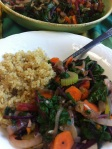 Sautéed Beet Greens and Carrots with Quinoa