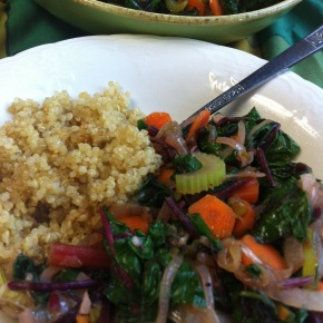 Sauteed Beet Greens and Carrots with Quinoa