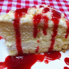 Lemon Cream Cake with Raspberry Sauce