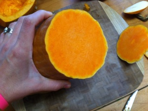 This is the bright orange flesh of the Tahitian Squash...