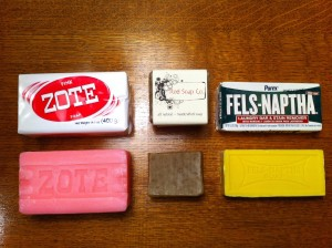 "These are different options for the soap that can be used in this recipe.  ""Zote"" brand, homemade soap, and finally ""Fels Naptha"" brand..."