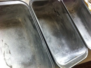 Greased and floured loaf pans